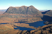 Inverpolly National Nature Reserve, North West Scotland, UK, view from the summit of Stac Pollaidh 2009ft high