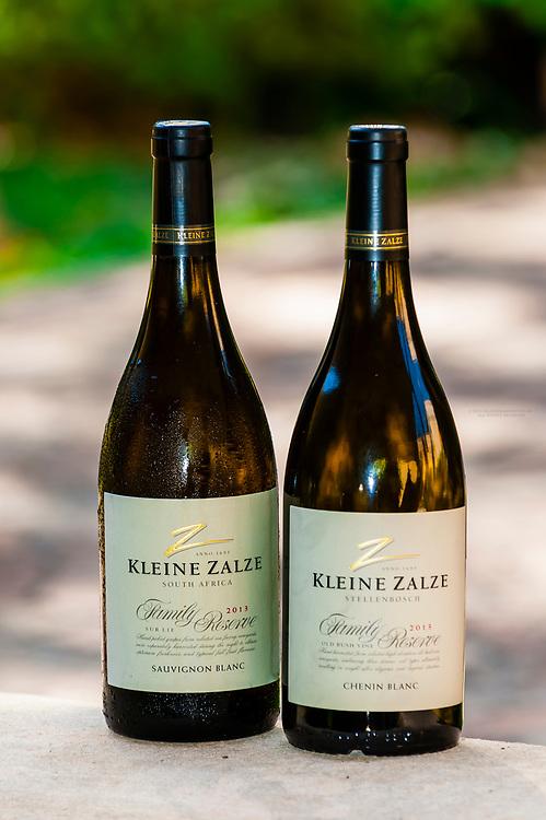 Award winning Kleine Zalze, Family Reserve Sauvignon Blanc and Chenin Blanc white wines, Kleine Zalze Wines, Stellenbosch, Cape Winelands, South Africa.