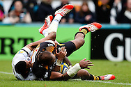 London Wasps' Sailosi Tagicakibau scores a length of the pitch try - Rugby Union - 2014 / 2015 Aviva Premiership - Wasps vs. Bath - Adams Park Stadium - London - 11/10/2014 - Pic Charlie Forgham-Bailey/Sportimage