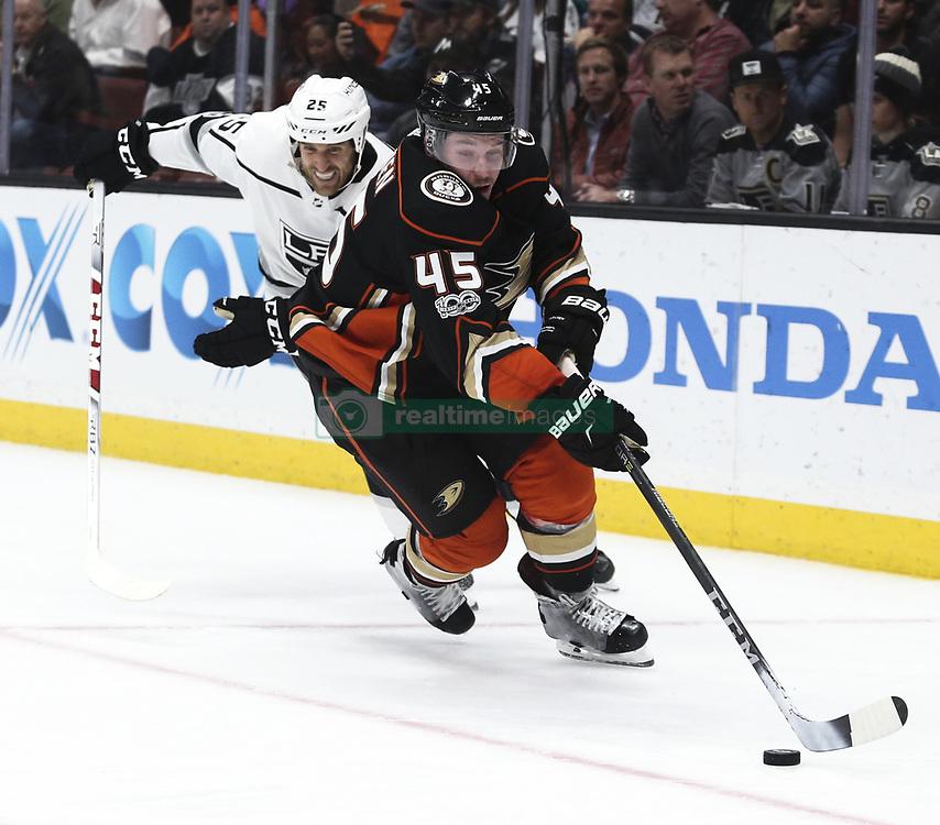 November 7, 2017 - Los Angeles, California, U.S - Anaheim Ducks defenseman Sami Vatanen (45) and Los Angeles Kings forward Brooks Laich (25) fight for the puck during a 2017-2018 NHL hockey game in Anaheim, California on Nov. 7, 2017. Los Angeles Kings won 4-3 in overtime. (Credit Image: © Ringo Chiu via ZUMA Wire)
