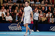 Strictly Come Dancing star Anton du Beke playing tennis instead of dancing during a celebrity doubles match at the Men's Singles Final Champions Tennis match at the Royal Albert Hall, London, United Kingdom on 9 December 2018. Picture by Ian Stephen.