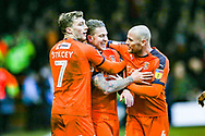 Goal 3-0 Luton Town midfielder George Moncur scores his second goal and celebrates with his team mates during the EFL Sky Bet League 1 match between Luton Town and Wycombe Wanderers at Kenilworth Road, Luton, England on 9 February 2019.