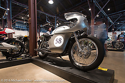 Dave Pingleton and Steve Warner's 1958 Triton motorcycle on Saturday in the Handbuilt Motorcycle Show. Austin, TX, USA. April 9, 2016.  Photography ©2016 Michael Lichter.