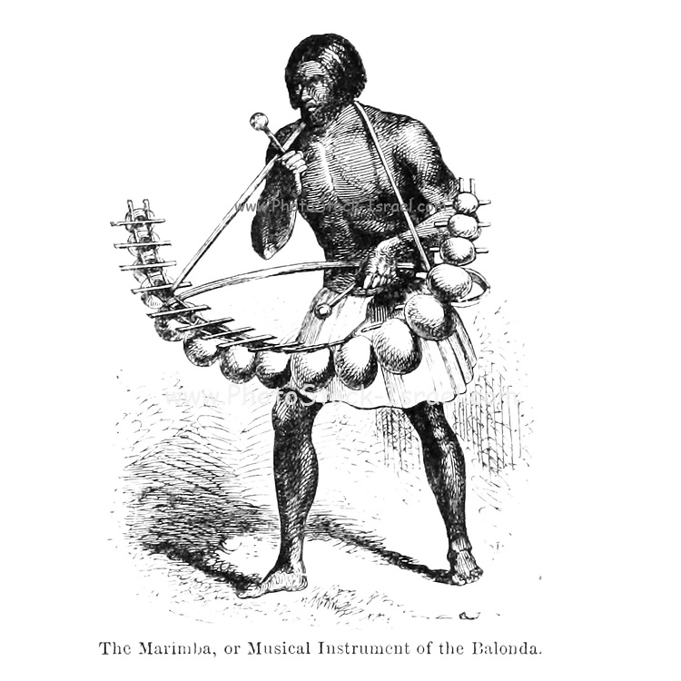 The Marimba, or Musical Instrument of the Balonda From the Book ' Missionary travels and researches in South Africa ' including Sixteen Years Residence in the Interior of Africa. by Dr. David Livingstone Published in New York by Harper & Brothers 1858