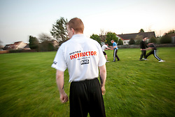 The Institute of Krav Maga Scotland's Monday night Stirling Krav Maga Class at Wallace High school. The KMG Instructor Alan Clark took the class outside tonight..©Michael Schofield.