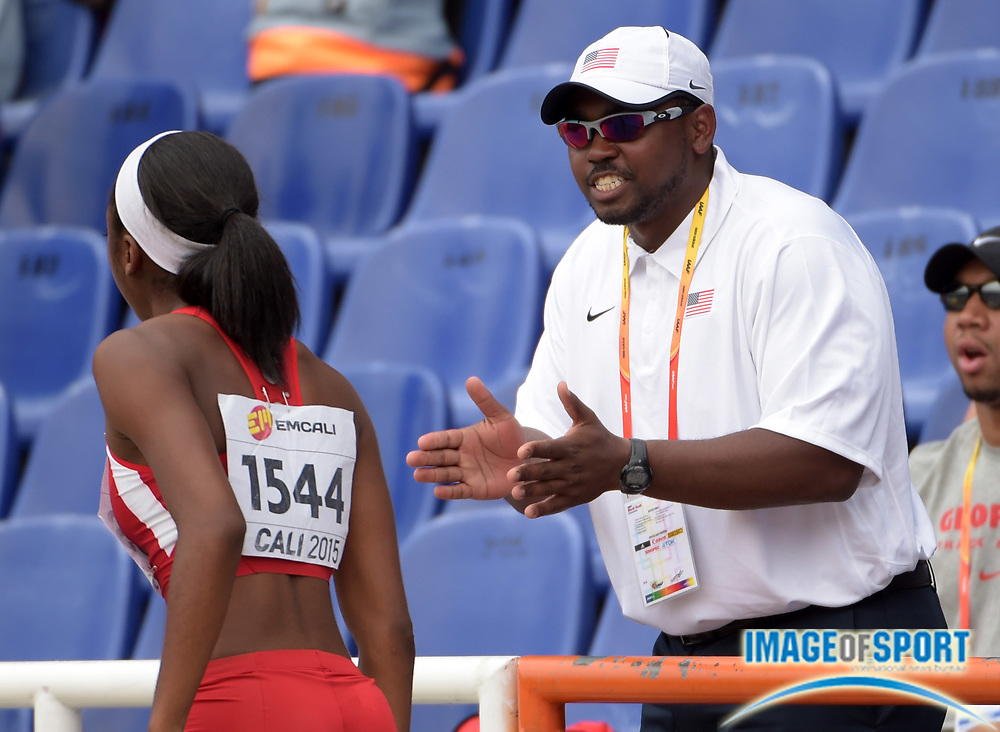 Jul 18, 2015, Cali, Columbia; United States assistant coach Harold Rose (right) with Jordan Fields during the heptathlon long jump during the 2015 IAAF World Youth Championships at Estadio Olimpico Pascual Guerrero.