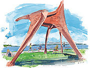 "Alexander Calder's ""Eagle"" stands tall on a sunny day in Seattle's Olympic Sculpture Park.<br />