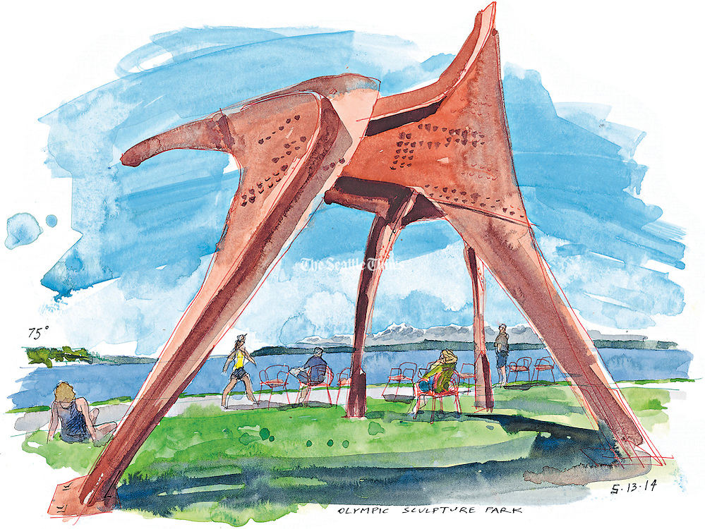 """Alexander Calder's """"Eagle"""" stands tall on a sunny day in Seattle's Olympic Sculpture Park.<br /> <br /> Gabriel Campanario / The Seattle Times"""