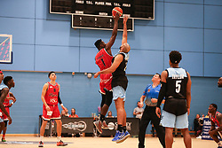 Daniel Edozie of Bristol Flyers goes up for the tip off - Photo mandatory by-line: Arron Gent/JMP - 28/04/2019 - BASKETBALL - Surrey Sports Park - Guildford, England - Surrey Scorchers v Bristol Flyers - British Basketball League Championship