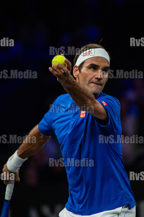 GENEVA, SWITZERLAND - SEPTEMBER 21: Roger Federer of Team Europe serves during Day 2 of the Laver Cup 2019 at Palexpo on September 21, 2019 in Geneva, Switzerland. The Laver Cup will see six players from the rest of the World competing against their counterparts from Europe. Team World is captained by John McEnroe and Team Europe is captained by Bjorn Borg. The tournament runs from September 20-22. (Photo by Monika Majer/RvS.Media)