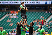 Twickenham, United Kingdom 25th May 2019 HSBC London Sevens,  NZL. Scott CURREY,  collects the line out ball during the Pool C game . New Zealand vs Scotland, played at  the  RFU Stadium, Twickenham, England, <br /> © PeterSPURRIER: Intersport Images<br /> <br /> 12:11:02 25.05.19