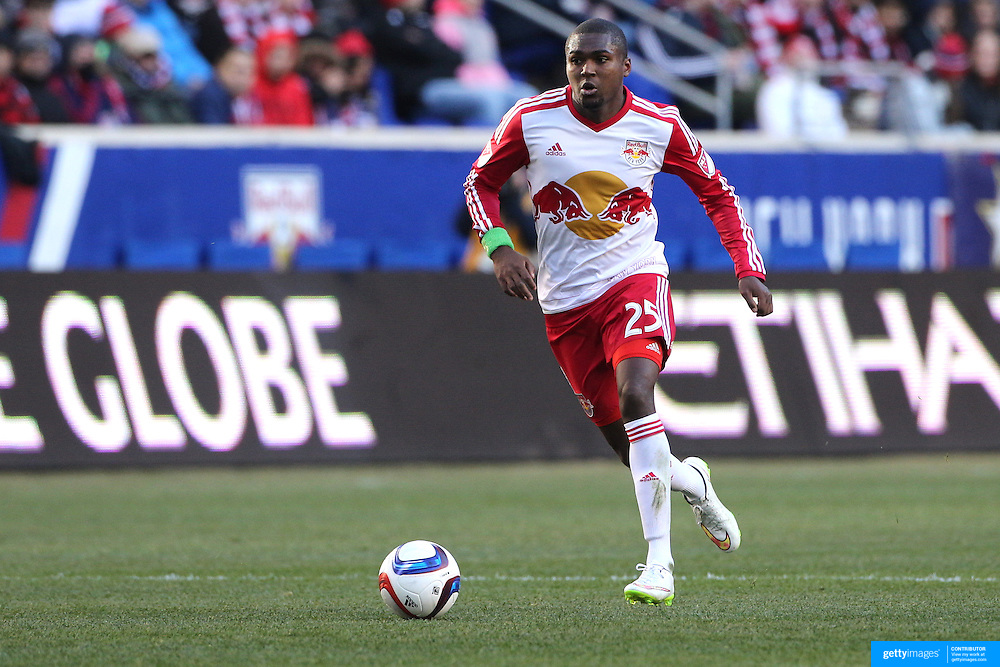 Chris Duvall, New York Red Bulls, in action during the New York Red Bulls Vs D.C. United Major League Soccer regular season match at Red Bull Arena, Harrison, New Jersey. USA. 22nd March 2015. Photo Tim Clayton