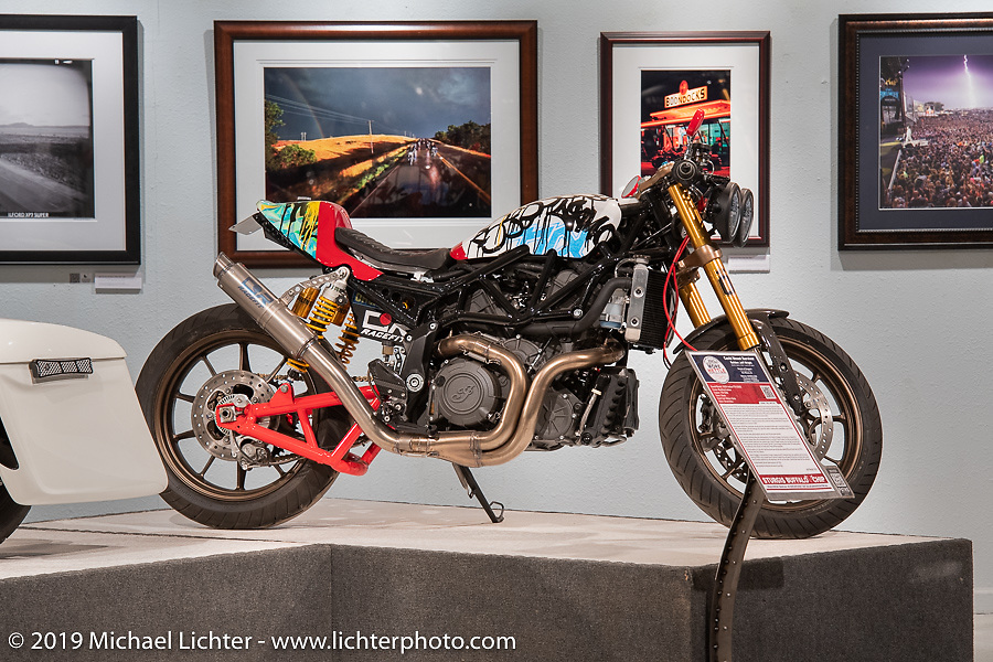 Jeff Wright's Church of Choppers Covid Street Survivor custom 2020 Indian FTR-1200S in the More Mettle - Motorcycles and Art That Never Quit exhibition in the Buffalo Chip Events Center Gallery during the Sturgis Motorcycle Rally. SD, USA. Monday, August 9, 2021. Photography ©2021 Michael Lichter.