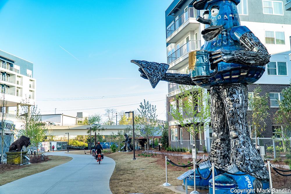 Krog Street Area of Beltline Eastside Art installations sponsored by local business. Art work lines the Beltline