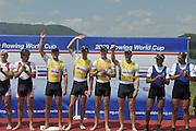 Banyoles, SPAIN,  GBR M4-,  Bow Alex PARTRIDGE, Rick EGINGTON, Alex GREGORY and Matt LANGRIDGE,  Gold Medalist, Men's Four, at the FISA World Cup Rd 1. Lake Banyoles.  Sunday,  31/05/2009   [Mandatory Credit. Peter Spurrier/Intersport Images]