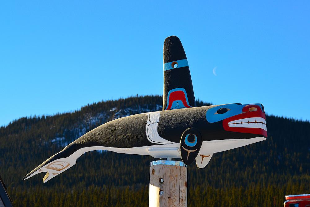 Killer whale totem in Carcross, Yukon