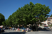 Flea market or brocante in Fabrezan, Languedoc-Roussillon, France. This is a place where locals come to sell off unwanted items, but is essentially a junk market, selling cheap items unloaded from their cars. Look closely though and their can be some fine bargains and even antiques to be found.