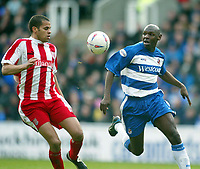 Photo: Scott Heavey.<br />Reading v Stoke City. Nationwide Division One. 13/03/2004.<br />Shaun Goater (R) of Reading battles with Marcus Hall