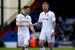 David Wheater of Bolton Wanderers and Dorian Dervite - Mandatory by-line: Matt McNulty/JMP - 15/04/2017 - FOOTBALL - Boundary Park - Oldham, England - Oldham Athletic v Bolton Wanderers - Sky Bet League 1
