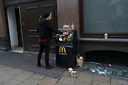Overflowing McDonalds rubbish bin in London, England, United Kingdom. (photo by Mike Kemp/In Pictures via Getty Images)
