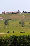vineyard hilltop village beaujolais burgundy france