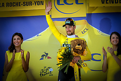July 8, 2018 - La Roche-Sur-Yon, France - SAGAN Peter (SVK) of Bora - Hansgrohe pictured during the podium ceremony stage 2 of the 105th edition of the 2018 Tour de France cycling race, a stage of 182.5 kms between Mouilleron - Saint-Germain and La Roche-Sur-Yon on July 08, 2018 in La Roche-Sur-Yon, France, 8/07/18 (Credit Image: © Panoramic via ZUMA Press)