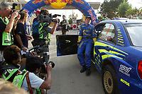AUTO - WRC 2004 - MEXICO RALLY - LEON 20040314 - PHOTO : FRANCOIS BAUDIN / DPPI<br /> PETTER SOLBERG (NOR) / SUBARU IMPREZA WRC - AMBIANCE - TIME PENALTY *** Local Caption *** 00001268
