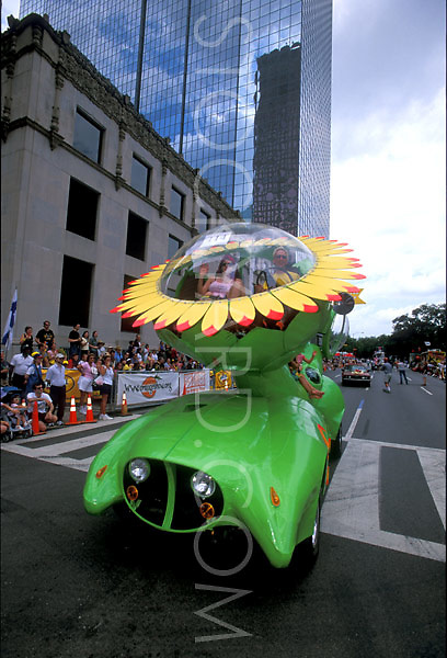 Stock photo of a giant sunflower car
