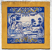 Close-up of 18th Century historic blue and white tiled Azulejo art picture scene of nobles hunting in the  village of Terena, Alentejo Central, Portugal, Southern Europe