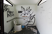 Pit toilet at a U.S. Forest Service recreation site, human negligence, graffiti, April, Highway 395, eastern Sierra Mountains, California, USA