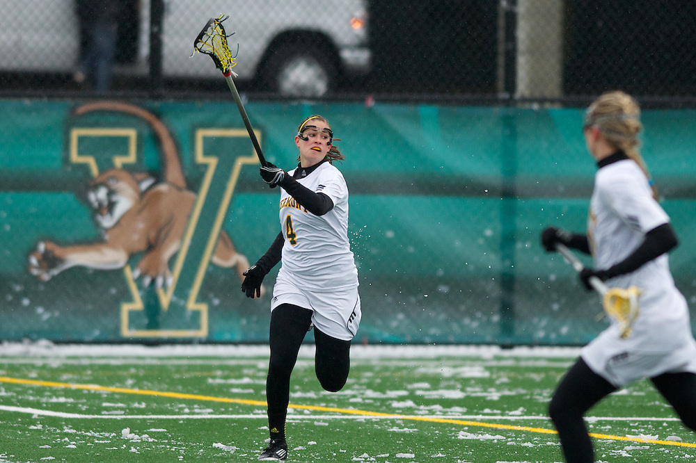 The women's lacrosse game between the Boston College Eagles and the Vermont Catamounts at Virtue Field on Friday afternoon April 12, 2013 in Burlington, Vermont.