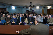 Yoshkar-Olinskii, Russia, 24/04/2005..Garry Kasparov speaking at a meeting of members of his new political movement in the city planetarium as he tours the Kazan area in central Russia. Kasparov, World Chess Champion for the last twenty years, recently retired from the professional game to devote his time to Russian politics, and is currently touring the country and founding a new political movement in opposition to President Valdimir Putin.