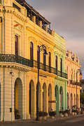 Buildings with colonial architecture on city with Hotel Armadores de Santander at sunset, Havana, Cuba