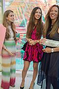 FIA MOEHLMANN; SAVANNAH MURPHY; HEATHER KRASNER Serpentine's Summer party co-hosted with Christopher Kane. 15th Serpentine Pavilion designed by Spanish architects Selgascano. Kensington Gardens. London. 2 July 2015.