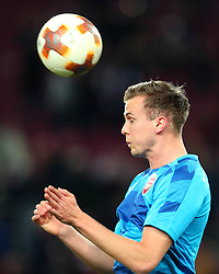 Rob Holding of Arsenal heads the ball - Mandatory by-line: Robbie Stephenson/JMP - 23/11/2017 - FOOTBALL - RheinEnergieSTADION - Cologne,  - Cologne v Arsenal - UEFA Europa League Group H