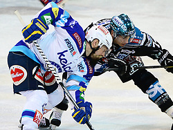 24.02.2013, Keine Sorgen Eisarena, Linz, AUT, EBEL, EHC Liwest Black Wings Linz vs EC VSV, Playoff best of seven, 1. Runde, im Bild Daniel Oberkofler (Liwest Black Wings Linz, #74) und Markus Peintner (EC VSV, #34) // during the Erste Bank Icehockey League playoff best of seven 1st round between EHC Black Wings Linz and EC VSV at the Keine Sorgen Icearena, Linz, Austria on 2013/02/24. EXPA Pictures © 2013, PhotoCredit: EXPA/ Reinhard Eisenbauer
