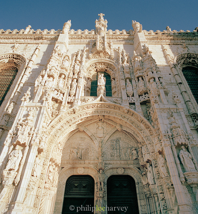 A facade at the Monastery of the Hieronymites and Tower of Belém, a UNESCO World Heritage Site at Lisbon, Portugal