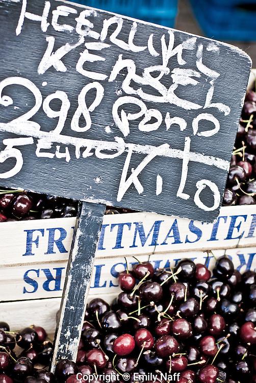 Cherries for sale at Noordermarkt, Amsterdam.