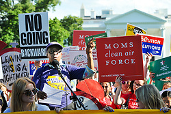 June 1, 2017 - Washington, DC, U.S. - Judith Howell, a DC security guard and member of union 32BJ-SEIU, speaks as environmental protesters rally in Lafayette Park across from the White House hours after an announcement by President Trump that he will withdraw the United States from participation in the Paris climate agreement. (Credit Image: © Jay Mallin via ZUMA Wire)