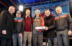25.02.2017, Fieberbrunn, AUT, FIS Weltmeisterschaften Ski Alpin, St. Moritz 2017, Empfang Feller, im Bild v.l. Landeshauptmann Stv. Josef Geisler, Toni Niederwieser (Bergbahnen Fieberbrunn), Bürgermeister Dr. Walter Astner, Manuel Feller (AUT), Armin Kuen (TVB Pillerseetal), Martin Trixl (Bergbahnen Fieberbrunn) // during the receiving of Manuel Feller after the Alpine Ski Wolrd Championships in St. Moritz. Fieberbrunn, Austria on 2017/02/25. EXPA Pictures © 2017, PhotoCredit: EXPA/ Johann Groder