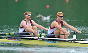 Bled, SLOVENIA.  Bow, Matt WELLS and Marcus BATEMAN, GBR M2X. move away from the start in their heat on the opening day  1st FISA World Cup, on Lake Bled. Friday  28/05/2010  [Mandatory Credit Peter Spurrier/ Intersport Images]