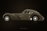 Black and white version of the legendary Bugatti 57-SC Atlantic from 1938<br />