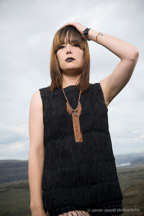 George, WA. - May 26th, 2012 Dum Dum Girls pose for a portrait backstage at the Sasquatch Music Festival in George, WA. United States