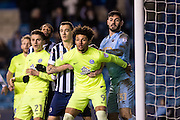 Peterborough United forward Lee Angol (9), Peterborough United forward Tom Nichols (21), Millwall goalkeeper Tom King (31) during the EFL Sky Bet League 1 match between Millwall and Peterborough United at The Den, London, England on 28 February 2017. Photo by Sebastian Frej.