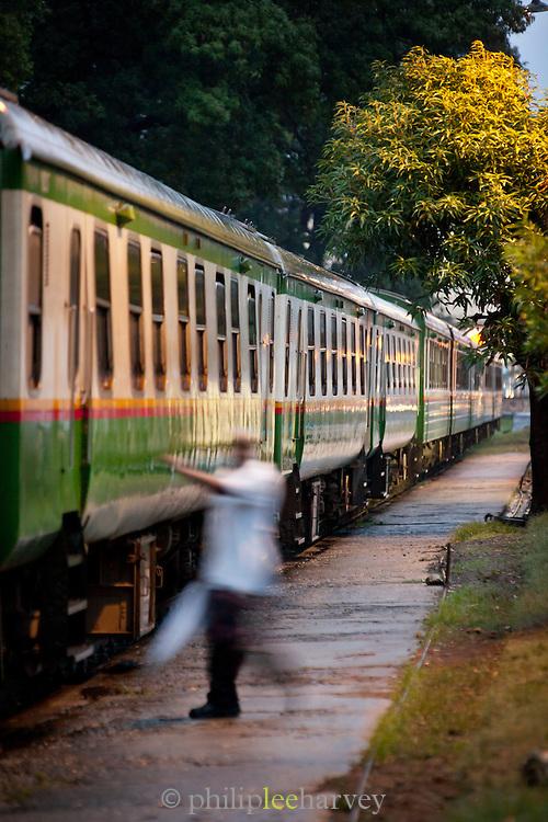 The historical Kenyan Railways overnight to train to Nairobi prepares to leave Mombasa, Kenya
