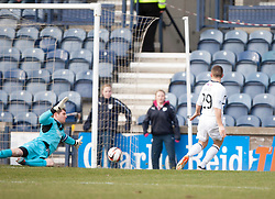 Falkirk's keeper Michael McGovern saves from Raith Rovers John Baird<br /> Raith Rovers 2 v 4 Falkirk, Scottish Championship game today at Starks Park.<br /> © Michael Schofield.
