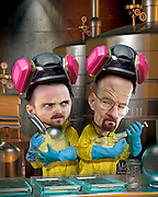Caricature of Bryan Cranston as Walter White (Heisenberg), Aaron Paul as Jesse Pinkman, both meth cooks in this dark comedy. 3D and Photoshop. Originally Created for Penthouse DVD Review.