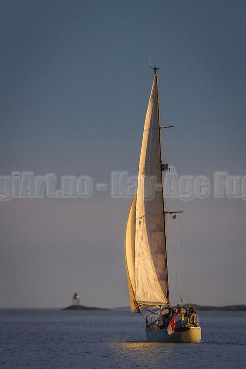Sailboat in sunlight   Seilbåt i sollys  i Herøyfjorden.