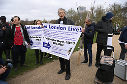 © Licensed to London News Pictures. 03/04/2021. London, UK. Piers Corbyn takes part in a demonstration in Hyde Park against the Government's proposed Police, Crime, Sentencing and Courts Bill. Photo credit: Ray Tang/LNP
