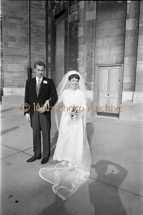 """16/09/1967<br /> 09/16/1967<br /> 16 September 1967<br /> Wedding of Mr Francis W. Moloney, 28 The Stiles Road, Clontarf and Ms Antoinette O'Carroll, """"Melrose"""", Leinster Road, Rathmines at Our Lady of Refuge Church, Rathmines, with reception in Colamore Hotel, Coliemore Road, Dalkey. Image shows the Bride and Groom outside the church after the ceremony."""